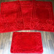 ROMANY TOURER SIZE MATS TRAVELLER SET NON SLIP SUPER THICK RED WASHABLE RUGS